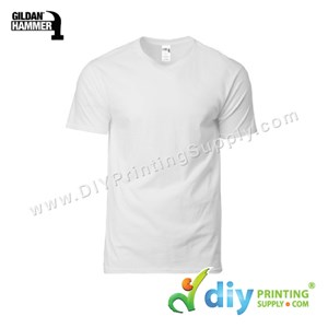 Hammer Cotton Tee (Round Neck) (White) (M) (210Gsm)