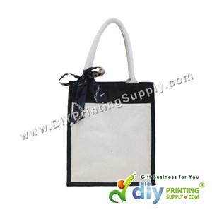 Jute Bag With Pocket & Twilly (Medium) (Black) (H37 X W30.5 X D14cm)