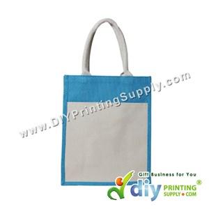 Jute Bag With Pocket & Twilly (Medium) (Cyan) (H37 X W30.5 X D14cm)