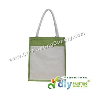 Jute Bag With Pocket & Twilly (Medium) (Green) (H37 X W30.5 X D14cm)