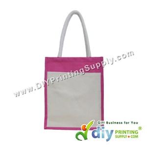 Jute Bag With Pocket & Twilly (Medium) (Magenta) (H37 X W30.5 X D14cm)