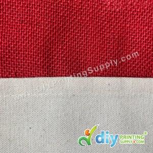 Jute Bag With Pocket & Twilly (Medium) (Red) (H37 X W30.5 X D14cm)