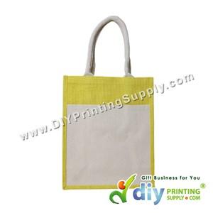 Jute Bag With Pocket & Twilly (Medium) (Yellow) (H37 X W30.5 X D14cm)