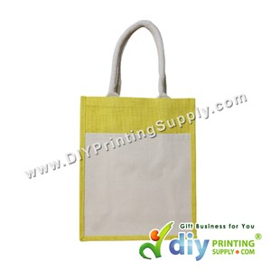 Jute Bag With Pocket & Twilly (Medium) (Yellow) (H37 X W30.5 X D14cm)