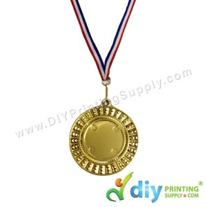 Medal Award (Gold) (7.5cm) With Ribbon [Without Sticker Paper]