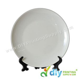 """3D Ceramic Plate (Full White) (10"""") With Stand & Box"""
