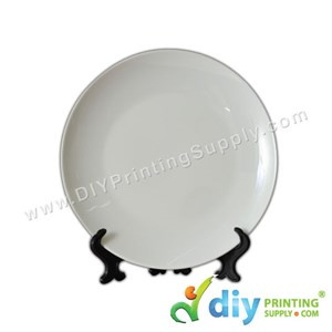 "3D Ceramic Plate (Full White) (8"") With Stand & Box"