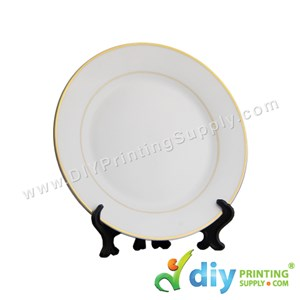 "Ceramic Plate (Gold Lining) (8"") With Stand & Box"