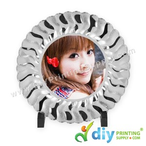 Photo Plate (Plastic) (Silver) (10'') With Stand [Using Sticker Paper]