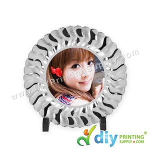 Photo Plate (Plastic) (Silver) (8'') With Stand [Using Sticker Paper]