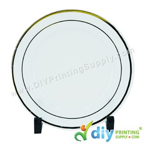 Photo Plate (Plastic) (White) (Gold Lining) (10'') With Stand [Using Sticker Paper]