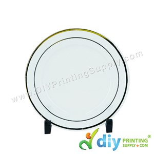 Photo Plate (Plastic) (White) (Gold Lining) (8'') With Stand [Using Sticker Paper]