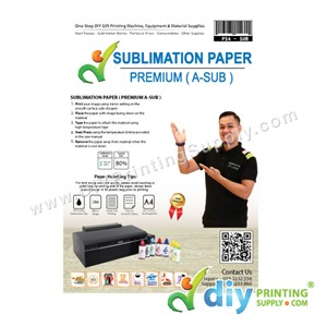 Sublimation Paper (Premium) (A-Sub) (A4) (For Metal Blanks Only) (100 Sheets/Pkt) [80% Transfer]