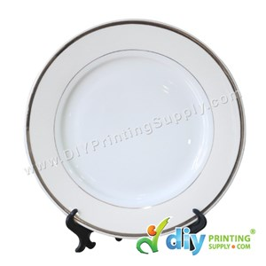 "Ceramic Plate (Silver Lining) (10"") With Stand & Box"