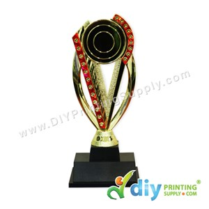 Trophy Award (Gold With Red) (Plastic) (21cm) & Aluminium Board