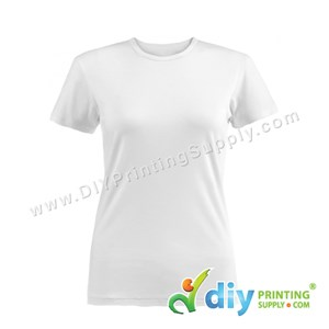Subli-Cotton Tee (White) (Female) (Round Neck) [Semi-Formal] (L) (190Gsm)