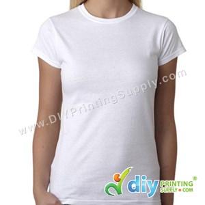 Subli-Cotton Tee (White) (Female) (Round Neck) [Semi-Formal] (L) (190Gsm)