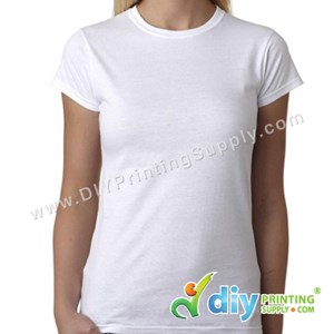 Subli-Cotton Tee (White) (Female) (Round Neck) [Semi-Formal] (M) (190Gsm)