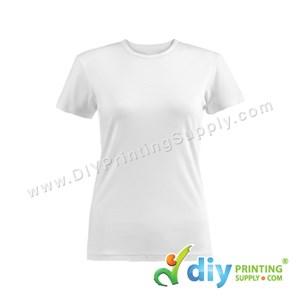Subli-Cotton Tee (White) (Female) (Round Neck) [Semi-Formal] (S) (190Gsm)