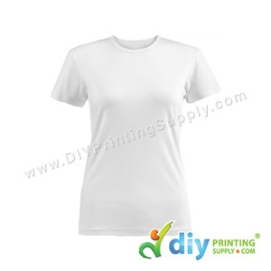 Subli-Cotton Tee (White) (Female) (Round Neck) [Semi-Formal] (S) (190Gsm)