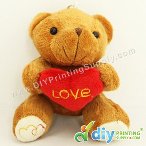 Teddy Bear [Love] (Brown) (10cm) With Keychain