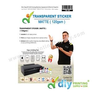 Transparent Sticker Paper 120Gsm (Matte) (A4) (25 Sheets/Pkt)