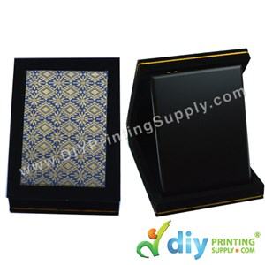 "Velvet Box With Aluminium Board (Songket) (7"" X 9"") (Blue)"