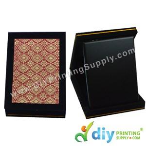 "Velvet Box With Aluminium Board (Songket) (7"" X 9"") (Red)"