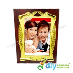 Wooden Plaque With Gold Frame & Aluminium Board (Small) (15 X 20cm)