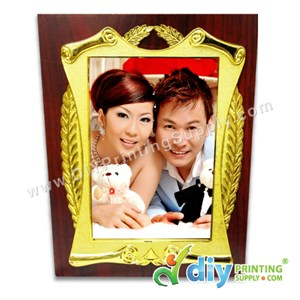 Wooden Plaque With Gold Frame & Aluminium Board (Large) (20 X 25cm)