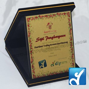 "Velvet Box With Aluminium Board (Songket) (7"" X 9"") (Red)"