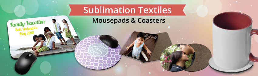 Supply sublimation mouse pads & coasters for heat transfer printing. Variety shapes such as round, love, square available. Print mousepad & coasters at No MOQ.
