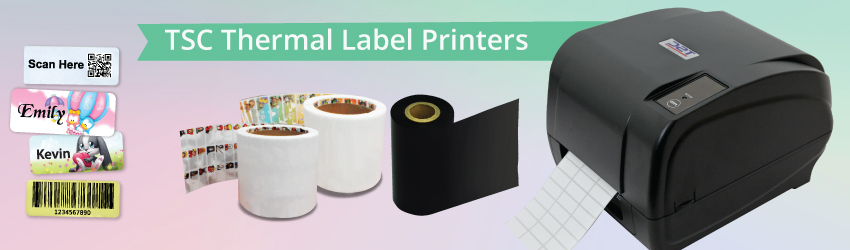 <p>Supply TSC thermal label printer T300E to print self-adhesive labels and stickers for product labels etc. Promo Name Label Printing Business Package available.</p>