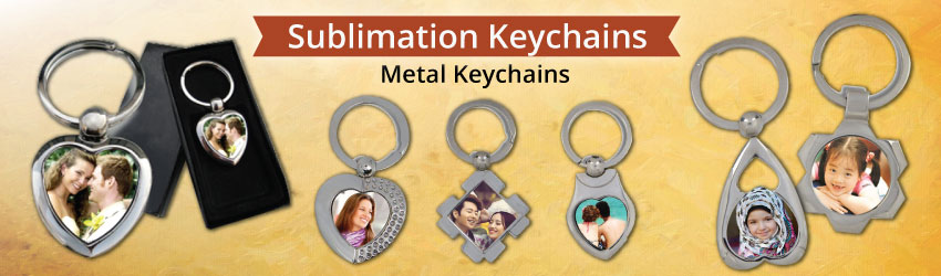 Supply sublimation metal key chains for heat transfer printing. Variety sizes & shapes such as love, rectangle, oval, round, sun flower etc available. Buy now.
