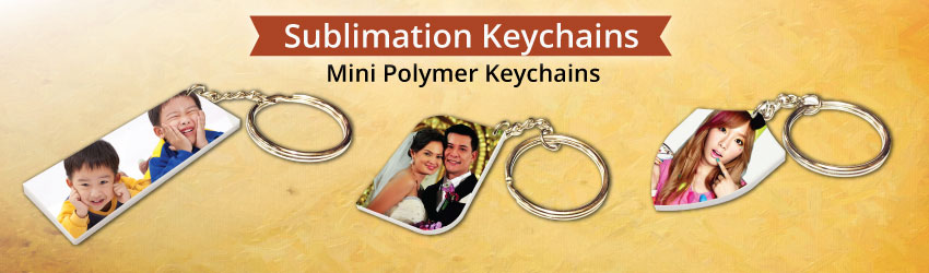 Supply sublimation polymer keychains that made in high quality plastic for heat transfer printing. Able to print both sides. Attached with a metal key chain.