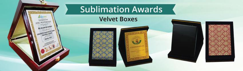 Supply velvet box with sublimation metal plate ready. Print your certificate, photo etc on metal plate, then stick it on velvet box as souvenir for special VIP.