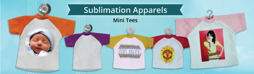 Supply sublimation mini tee for sublimation printing. Variety colours such as blue, green, yellow, orange etc for your business needs. Included suction & hanger