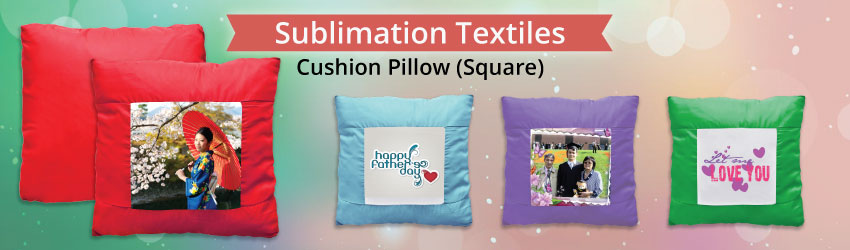 Supply sublimation cushion pillow (square) for heat transfer printing. Cushion pillow is provided separately.Variety colours such as blue, pink etc for business