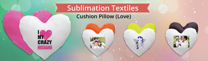 Supply sublimation cushion pillow (love) for heat transfer printing. Cushion pillow is provided separately. Variety colours such as blue, pink etc for business.